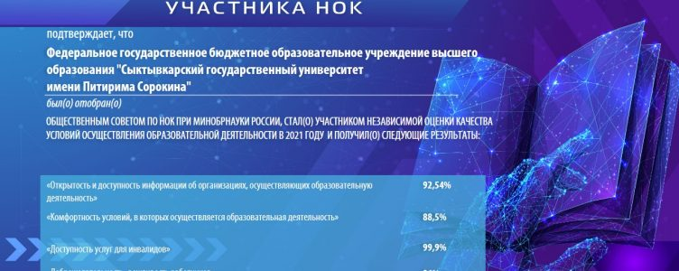 Pitirim Sorokin Syktyvkar State University showed high results of an independent quality assessment of educational activities in 2021